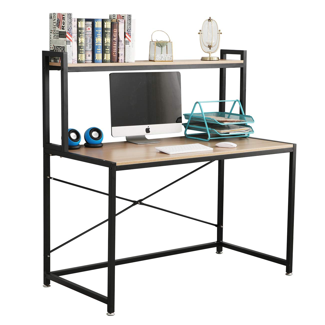 - DlandHome 47 Inches Office Desk With Hutch Computer Desk Gaming
