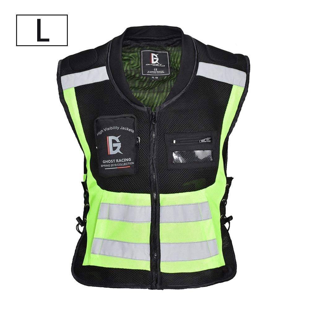 Ntribut High Grade Material Safety Reflective Vest High Visibility Waistcoat Fluorescent Sleeveless Jacket For Outdoor Jogging Cycling Walking Motorcycle Riding Running