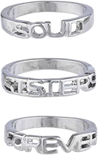 Lux Accessories argentato Soul Sisters Forever Best Friends anello, pezzi R272048-2E-R295