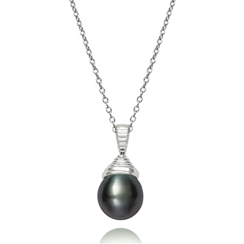 Belacqua Sterling Silver Tahitian Black Cultured Pearl Pendant Necklace,18in