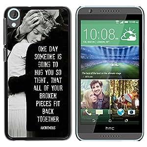 YOYOYO Smartphone Protección Defender Duro Negro Funda Imagen Diseño Carcasa Tapa Case Skin Cover Para HTC Desire 820 - angustias amor familia blanca negro