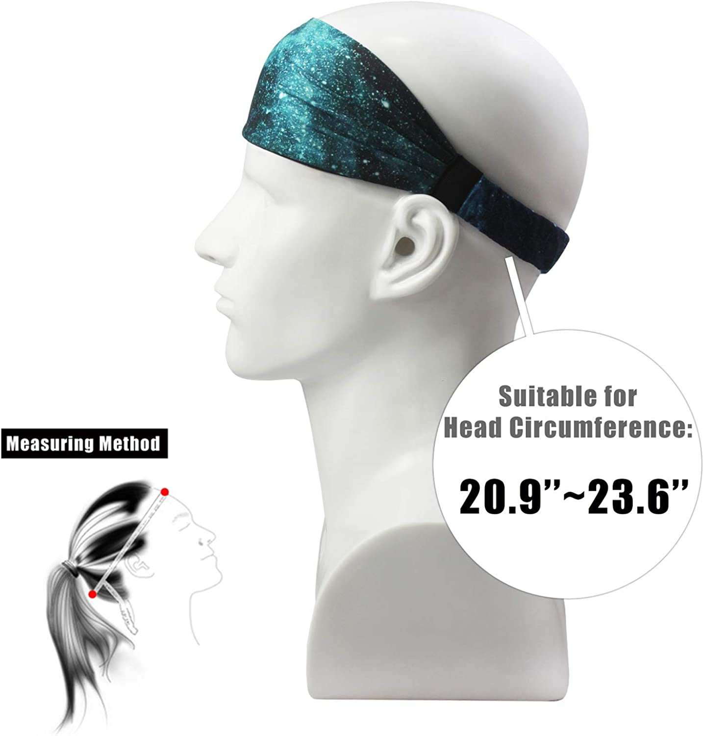 Obacle Headbands for Men Women Sweat Bands Headbands Non Slip Breatheable Durable Head Band Outdoor Sports Workout Yoga Gym Running Jogging Exercise 3 Pack