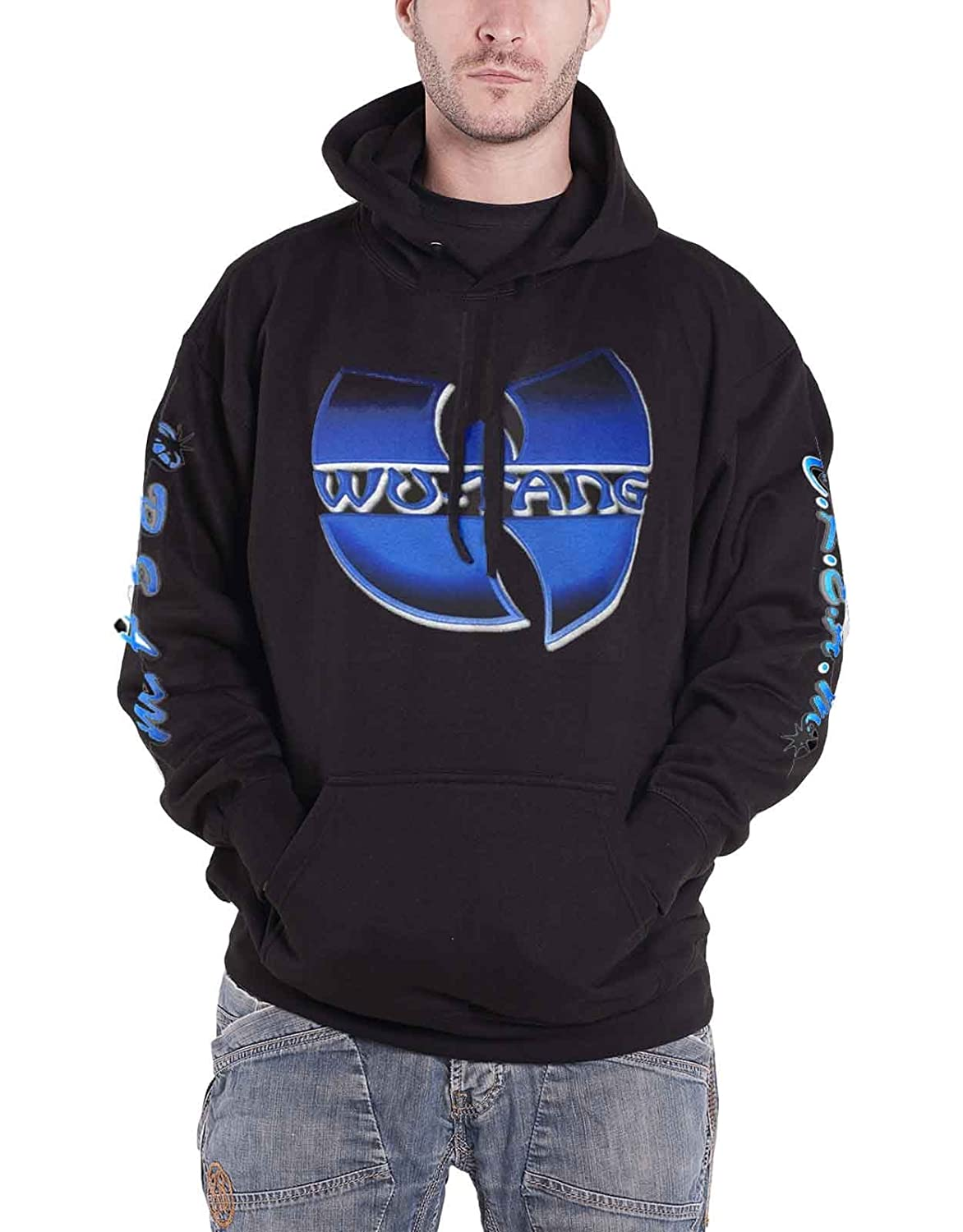 Wu-Tang Clan Hoodie Band Logo C.R.E.A.M. New Official Mens Black Pullover
