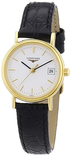 Longines Presence - Reloj de pulsera mujer, piel, color negro
