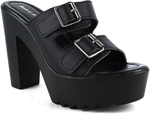 black platform sandals with buckles
