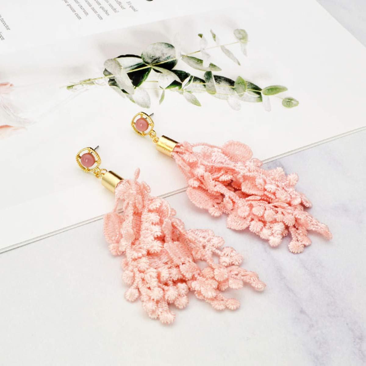VIIRY 12pcs Tassels Mix Color Style Fashion Soft Silk Lace Tassels Fit for Jewelry Making DIY Accessories 6 Pairs