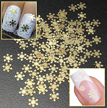 Amazon Com Nail Art Gold Snowflake Decorations Nail Art Snowflake
