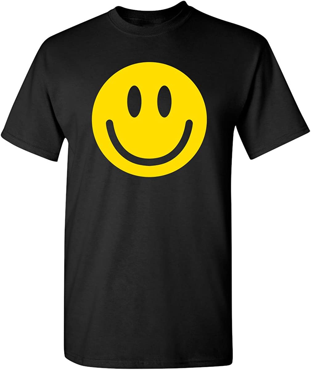 Smile Face Emoticons Novelty Graphic Sarcastic Happy Face Humor Funny T Shirt