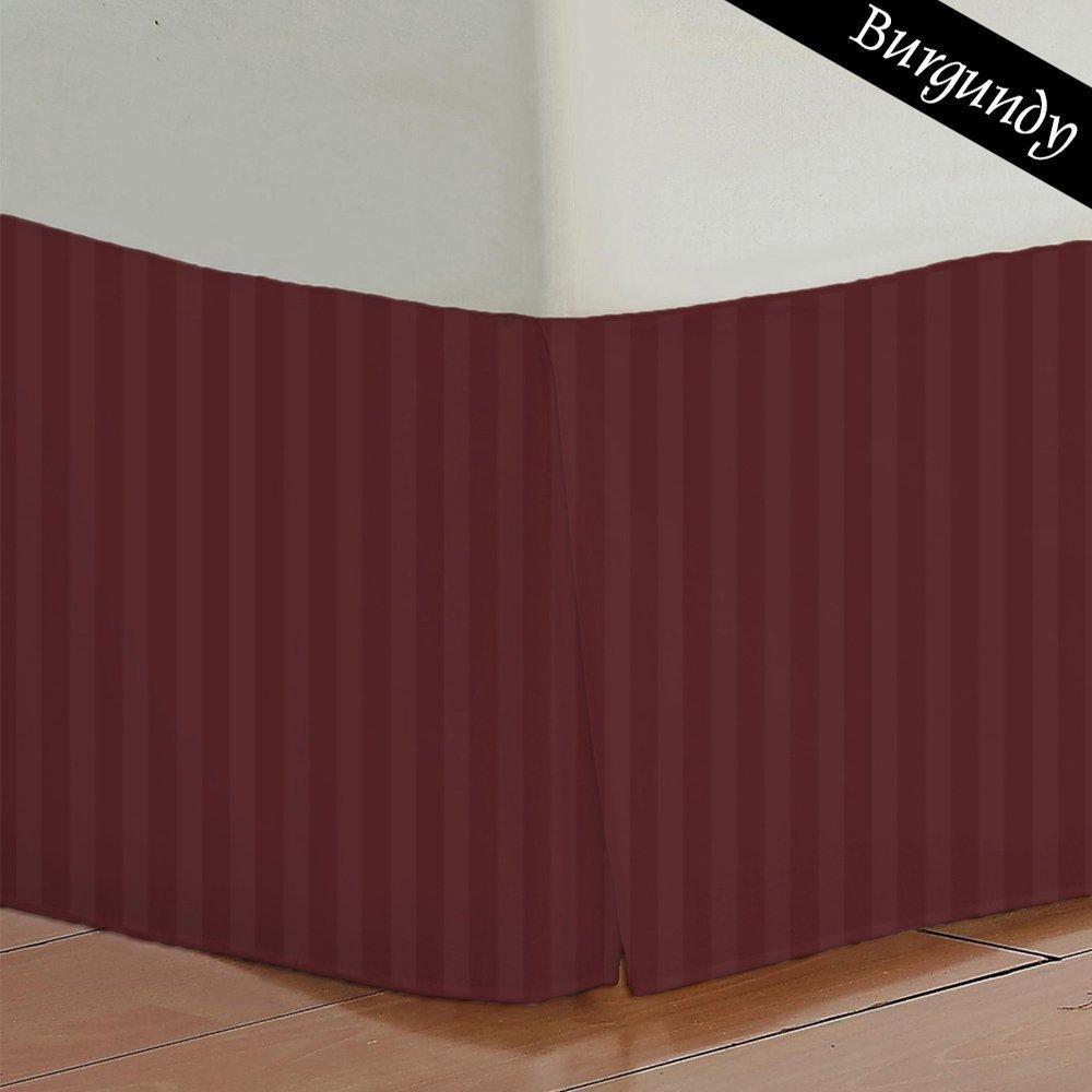 無料米国ストライプ( Burgundy ) cal-kingサイズプリーツ仕立てベッドギフトベッドスカート1つ( 1-pcs ) with 8-インチスーパードロップ長エジプト綿by KMリネン( 400 TC ) B01IABXZKC