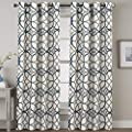 H Versailtex Blackout Curtains 108 Inches Long Home Fashion Grey And Navy Geo Pattern Energy Saving Window Treatment Grommet Extra Long Curtain Draperies For Patio 52 X 108 Set Of 2 Panels