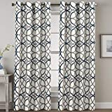 Blackout Bedroom Curtain Thermal Insulated Energy Efficient Home Decoration Geometric Rustic Style Printed Design Curtains for Living Room Grey and Navy Geo Pattern, 2 Panels, 52 by 84 Inch