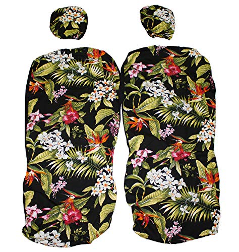 Hawaiian car seat cover with Separated Headrest, Hibiscus Flower Set of 2 Front Bucket Seat Covers (Black)