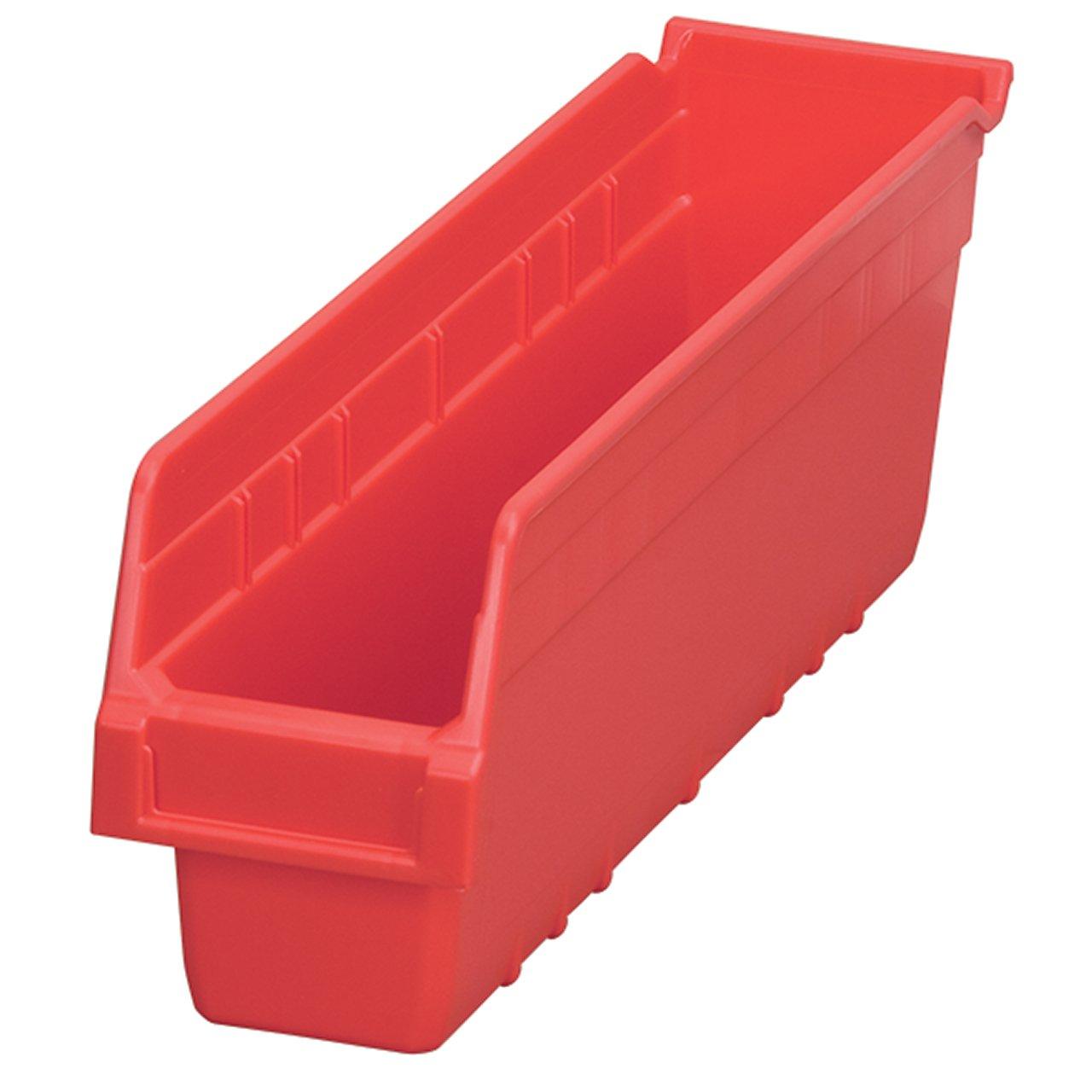 Akro-Mils 30048 ShelfMax Plastic Nesting Shelf Bin Box, 18-Inch Length x 4-Inch Width x 6-Inch Height, Case of 8, Red