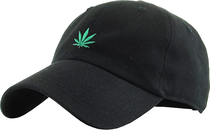 743ac5eced56 kbethos Men s Cotton Marijuana Leaf Dad Hat Baseball Cap Polo Adjustable ( Black)