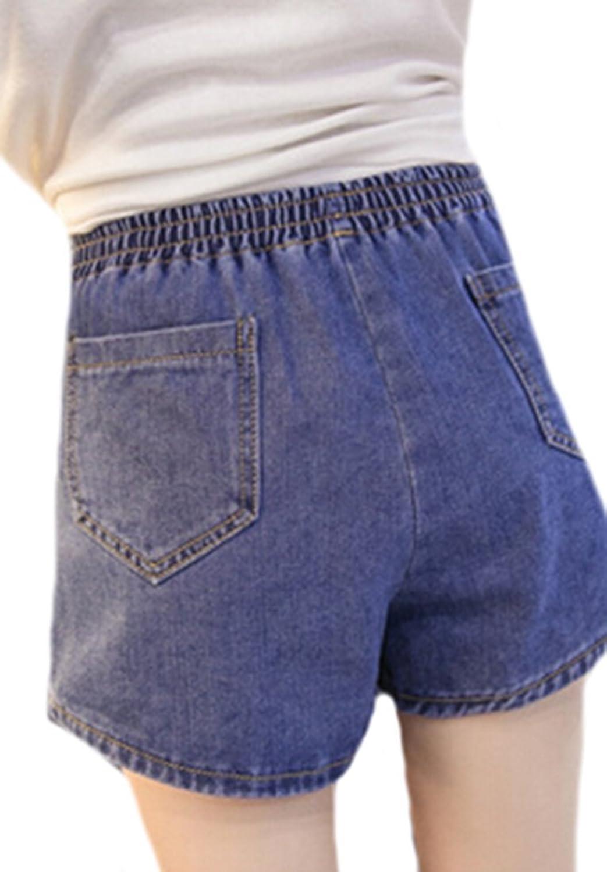 KXP Womens Comfy Elastic Waist Stretchy Solid Denim Shorts