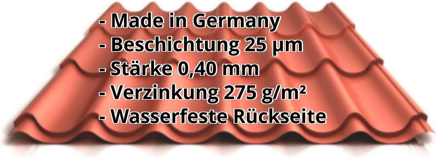 St/ärke 0,40 mm Material Stahl Ziegelblech Pfannenblech Beschichtung 25 /µm Profil PS47//1060RT Farbe Rotbraun Dachziegelblech