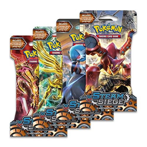 Game 4 Booster Pack (Pokemon Trading Card Game, 4 Packs Steam Siege Booster Pack)
