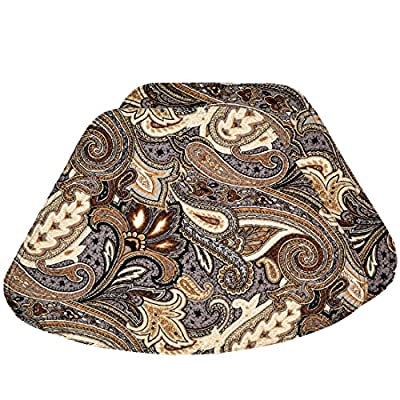 Set of 2 - Brown, Black and Gray Paisley Wedge-Shaped Placemat for Round Tables