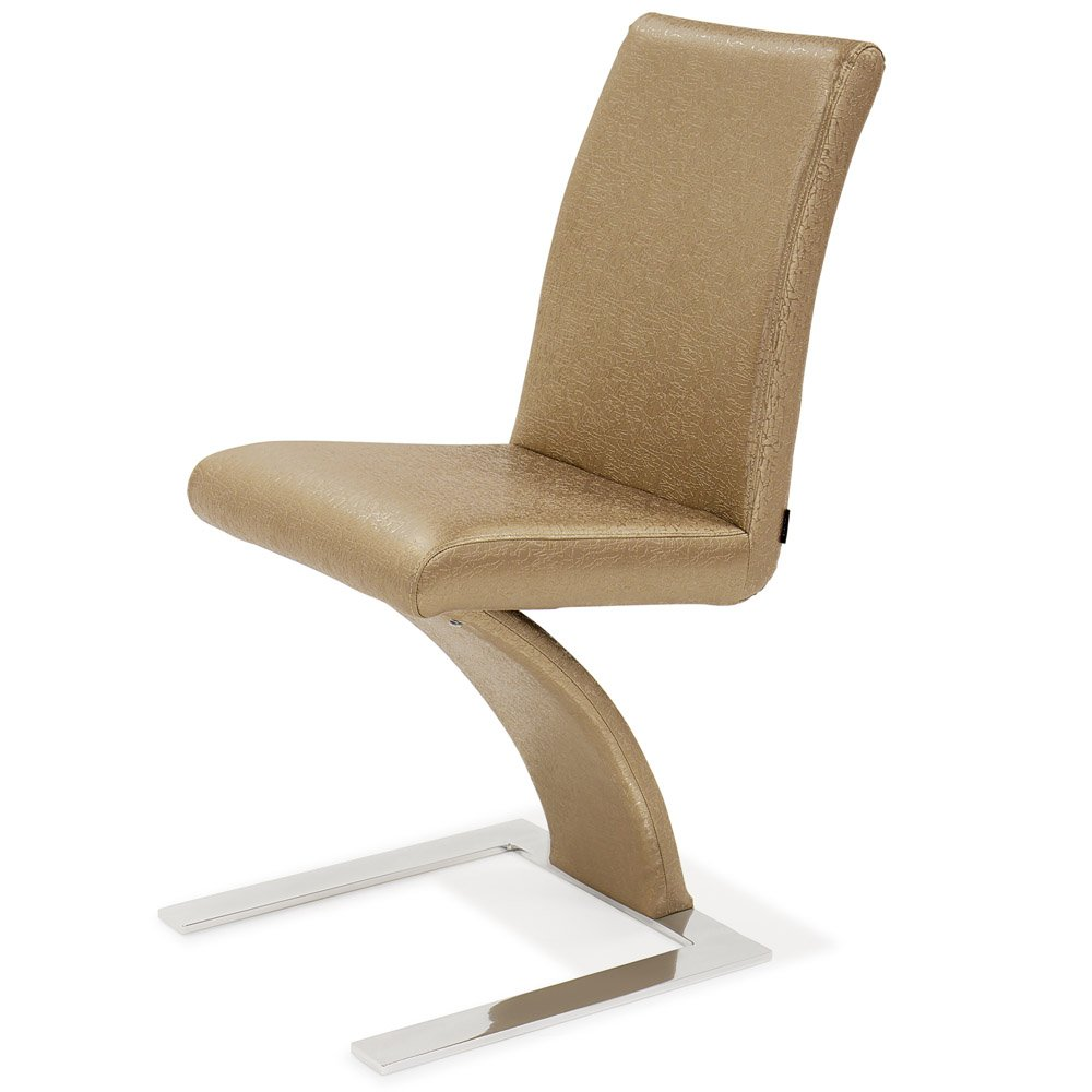 Zuri Furniture Modern Mesa Dining Chair in Champage Gold Leatherette and Stainless Steel