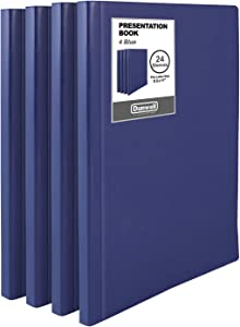 "Dunwell Binders with Plastic Sleeves (Navy Blue, 4 Pack), 24-Pocket Bound Presentation Books with Clear Sleeves, Each Displays 48 Pages of 8.5x11"" Inserts, Sheet Protector Binders, Portfolio Folders"
