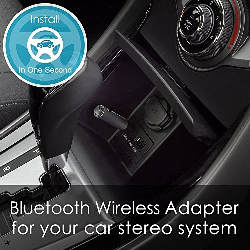 Bluetooth Receiver Adapter, Aluminum Wireless Mini Bluetooth 4.1 Receiver with Amplifier & AUX Audio Adapter and Bass Boost Option for Headphone, Car Audio, Speaker, Home Stereo, PC, Earbuds (Black)