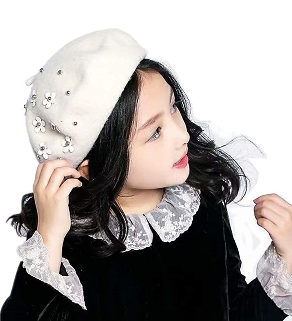 5bf80a88 Amazon.com: Kids French Berets for Toddler Girls,Hat Artist Dome Headwear  Winter Bailey Hat Beanie Cap Costume (Beige): Clothing