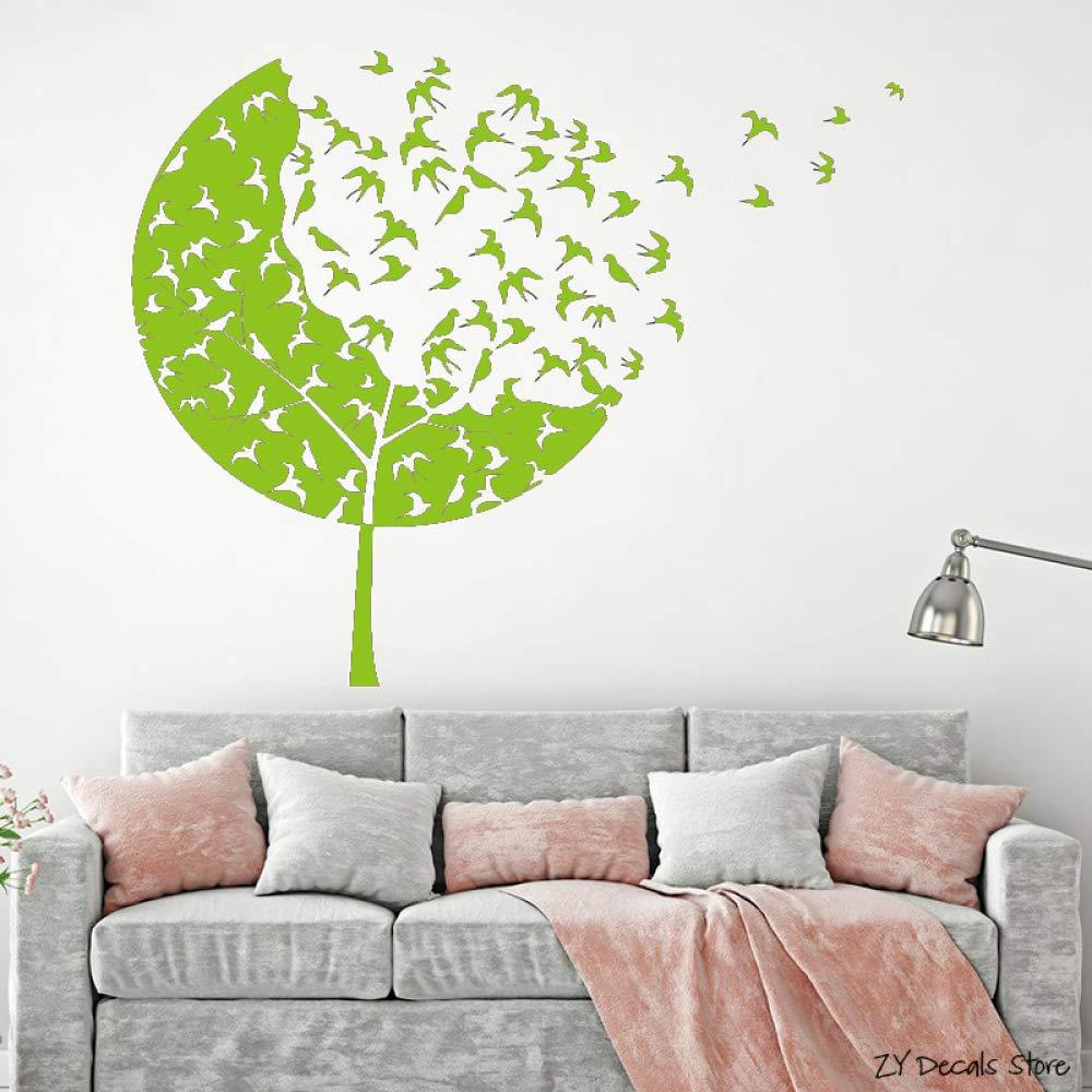 Bandada de pájaros Tatuajes de pared Árbol forestal Etiqueta de la ...