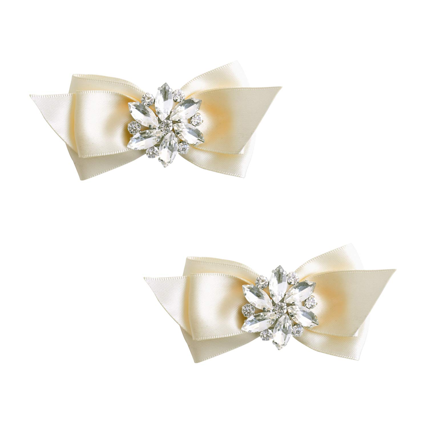 ElegantPark CQ Women Bow Shoe Clips Rhinestones Decorative Jewelry Wedding Party Accessories Decoration Ivory 2 Pcs