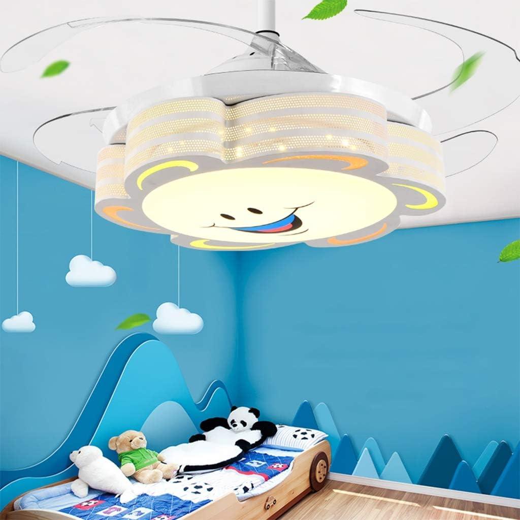 Moderno LED Luz invisible del ventilador de la habitación de los niños Ventilador de techo Luz regulable Creativo simple con control remoto Boy Girl Habitación de los niños Ventilador de techo Luz