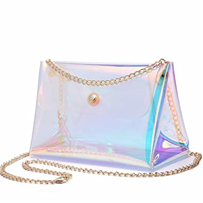 Amazon.com: Girls holográfica bolsa transparente cadena ...