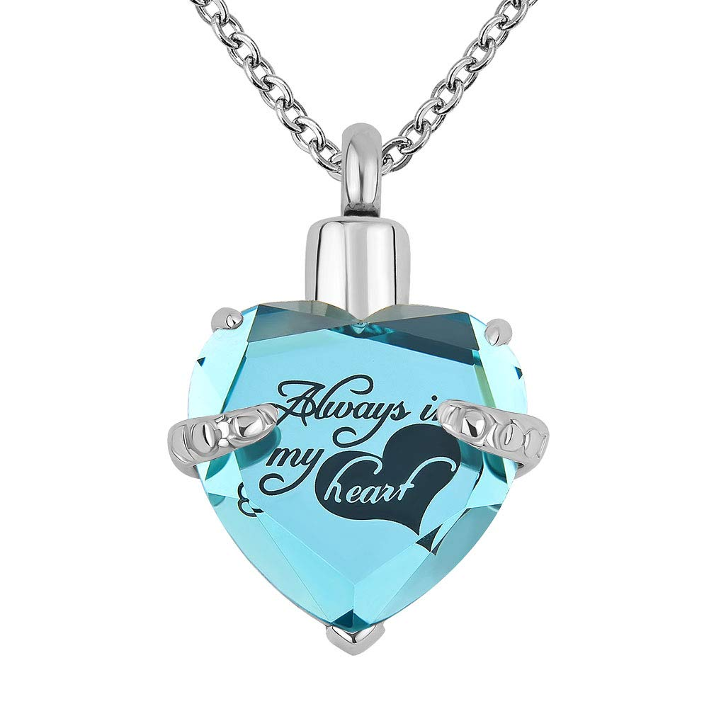 Lantern Low 12 Colors Heart Crystal Cremation URN Necklace for Ashes Jewelry Memorial Keepsake Pendant (Always in My Heart-Peacock)