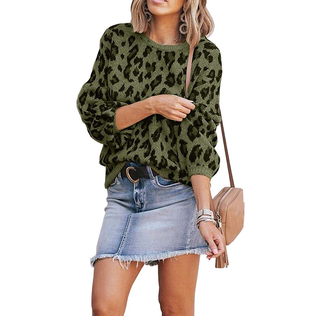Womens Casual Leopard Printed Sweaters - Long Sleeve Sweatshirts Jumper Pullover Tops Knits Loose Blouse Green by HiSunlyan