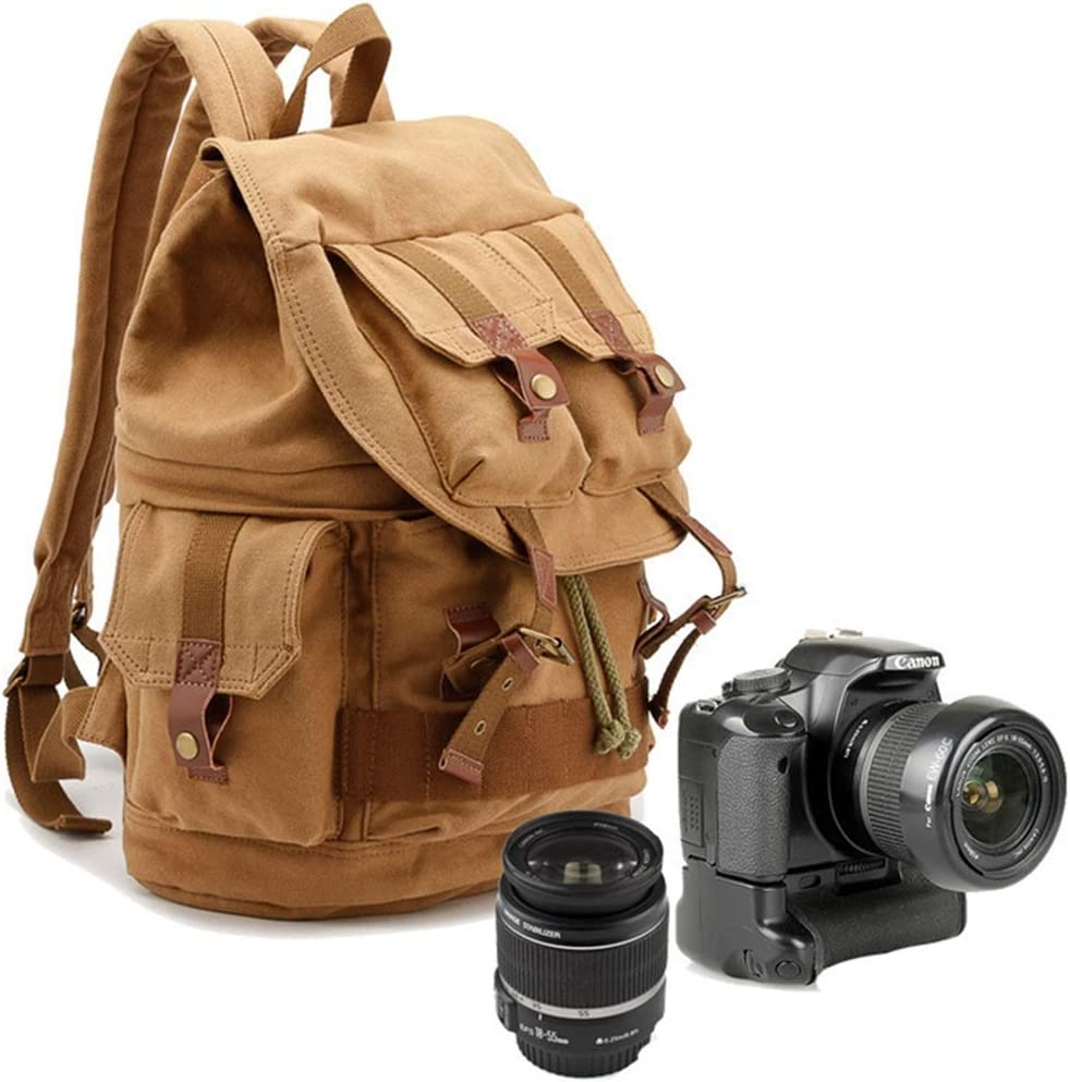 Color : ArmyGreen Casual Retro SLR Camera Photography Bag Backpack Thick Shock-Absorbing Liner Canvas Bag Large Backpack