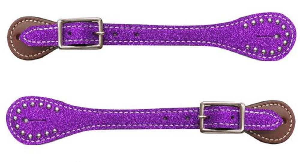 Showman YOUTH Kids Girls PURPLE Glitter Overlay Barrel Racing Studded Leather Spur Straps