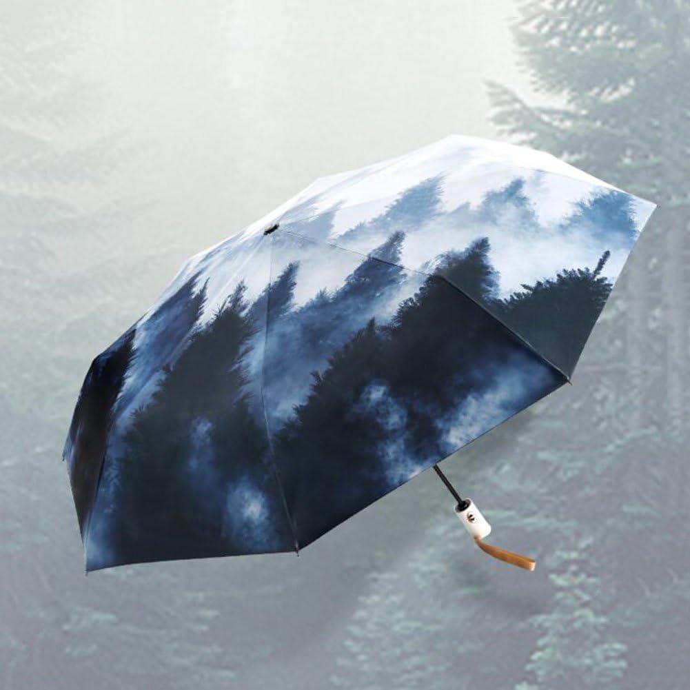 Sunny Umbrella Umbrella Automatic fold Parasols Sun Umbrella Large Umbrella Forest Retro Watercolor Painting