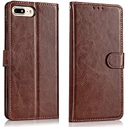 Alkax for iPhone 7 Plus Case Wallet,iPhone 8 Plus Case,Luxury PU Leather Flip Protective Cover with Card Slot Holder Kickstand iPhone 7 Plus Wallet Case for Apple iPhone 7 Plus/8 Plus and Stylus-Brown