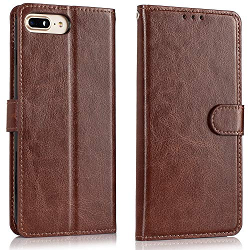 Alkax for iPhone 7 Case Wallet,iPhone 8 Case,Luxury PU Leather Flip Folio Protective Skin Cover with Credit Card Slot Holder Kickstand iPhone 7 Wallet Case for Apple iPhone 7/iPhone 8 and Stylus-Brown