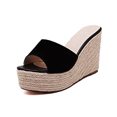 4b0c4cbe6 fereshte Women s Suede Peep Toe Open Back Platform Flatform Shoes Wedge  Heel Summer Slippers Black EU