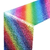 Hestya Sparkly Sequin Table Runner 12 By 108 Inch Glitter Rainbow for Summer Theme Wedding Engagement Birthday Party Bridal Baby Shower Dresser Decorations