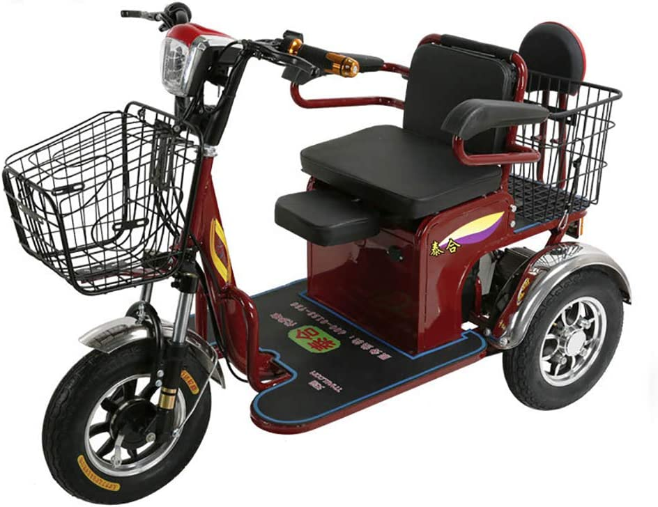 Jkls Triciclo Eléctrico, Faros LED, Ajustable Asiento para Niños con La Cesta De Compras, Triciclo, Adulto Scooter De Alto Nivel Que Pueden Entrar En El Ascensor