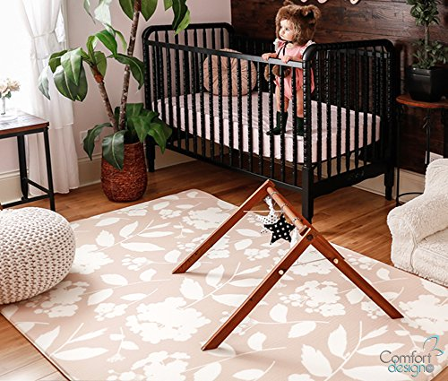 Premium Stylish Foam Floor Mat | Cushy-Soft & Thick | Waterproof, Easy-to-Clean, Hypoallergenic, Non-toxic, Pet-friendly, Portable | Baby Play Mat, Yoga, Exercise Mat - Large Blush Pink Garden Blossom