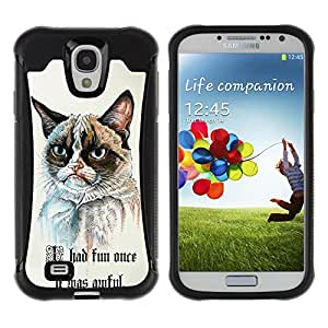 ZAKO Cases / Samsung Galaxy S4 I9500 / Grumpy Cat Once Fun / Robusto Prueba de choques Caso Billetera cubierta Shell Armor Funda Case Cover Slim Armor