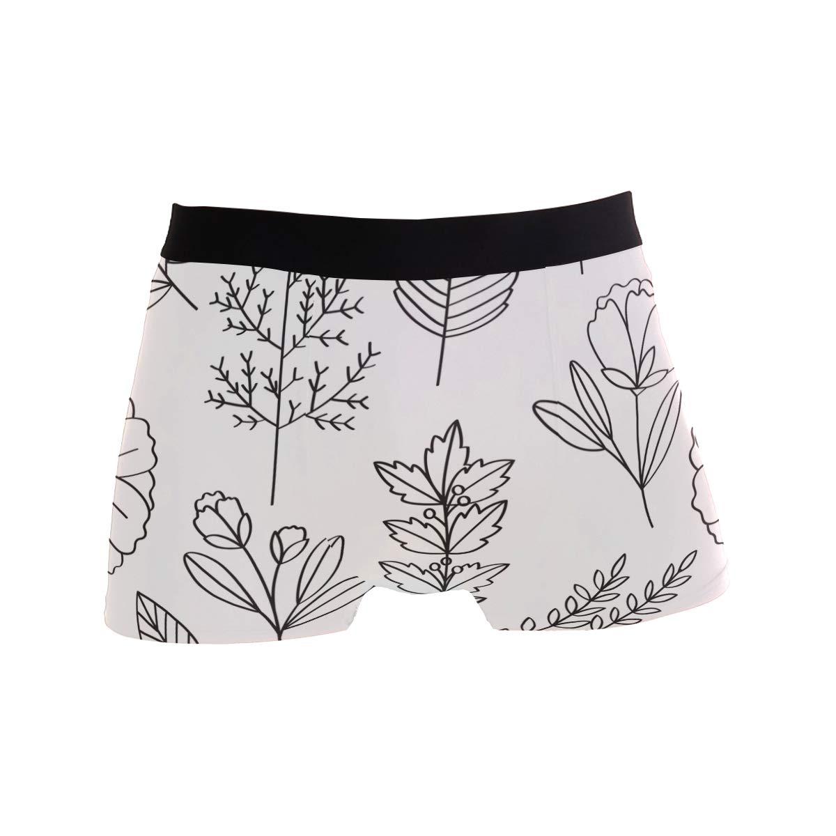Simple Plant Leaves Pattern Men Underwear Elastic Boxer Briefs Soft Breathable S
