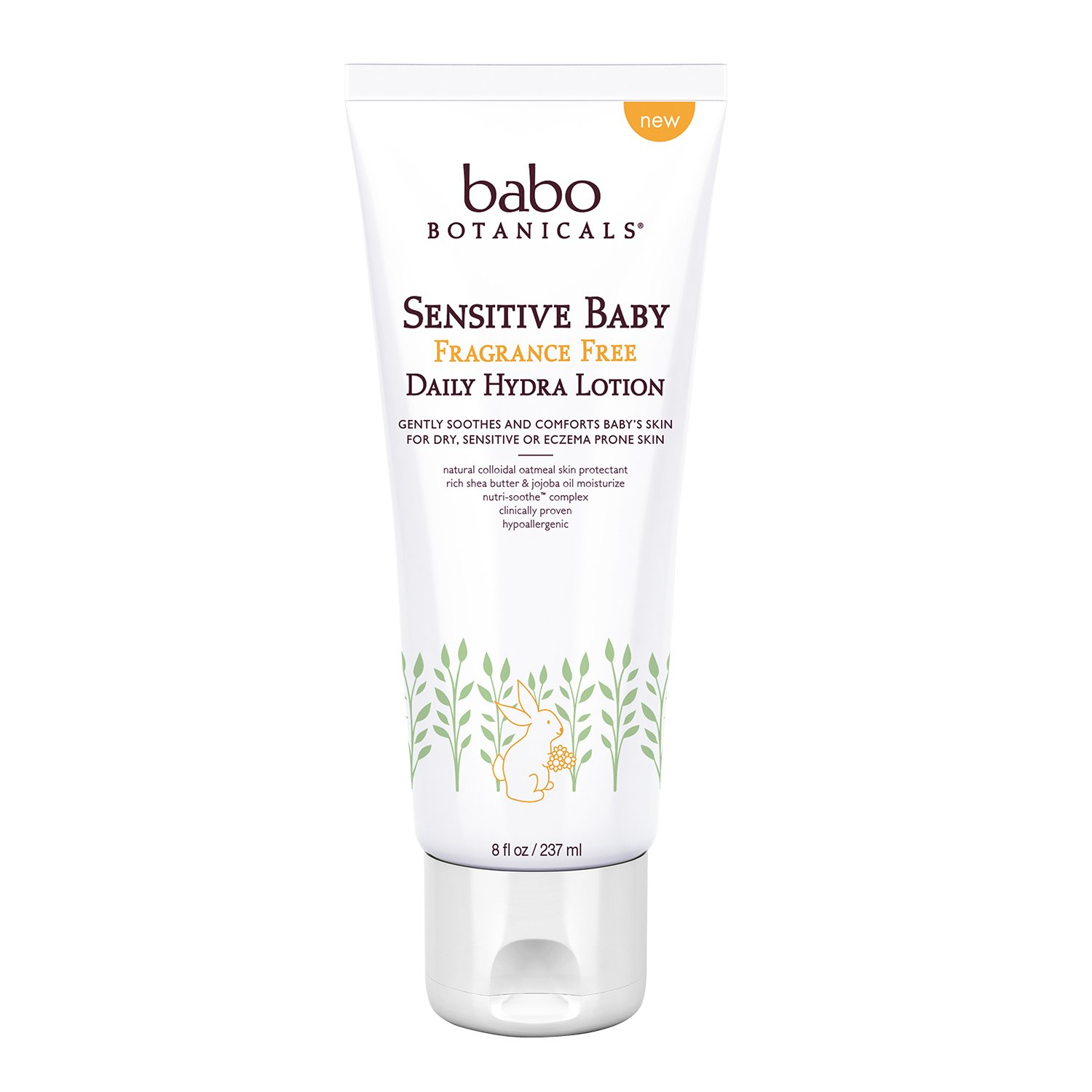 BABO Botanicals Sensitive Baby Fragrance Free Daily Hydra Lotion, 8 Ounce