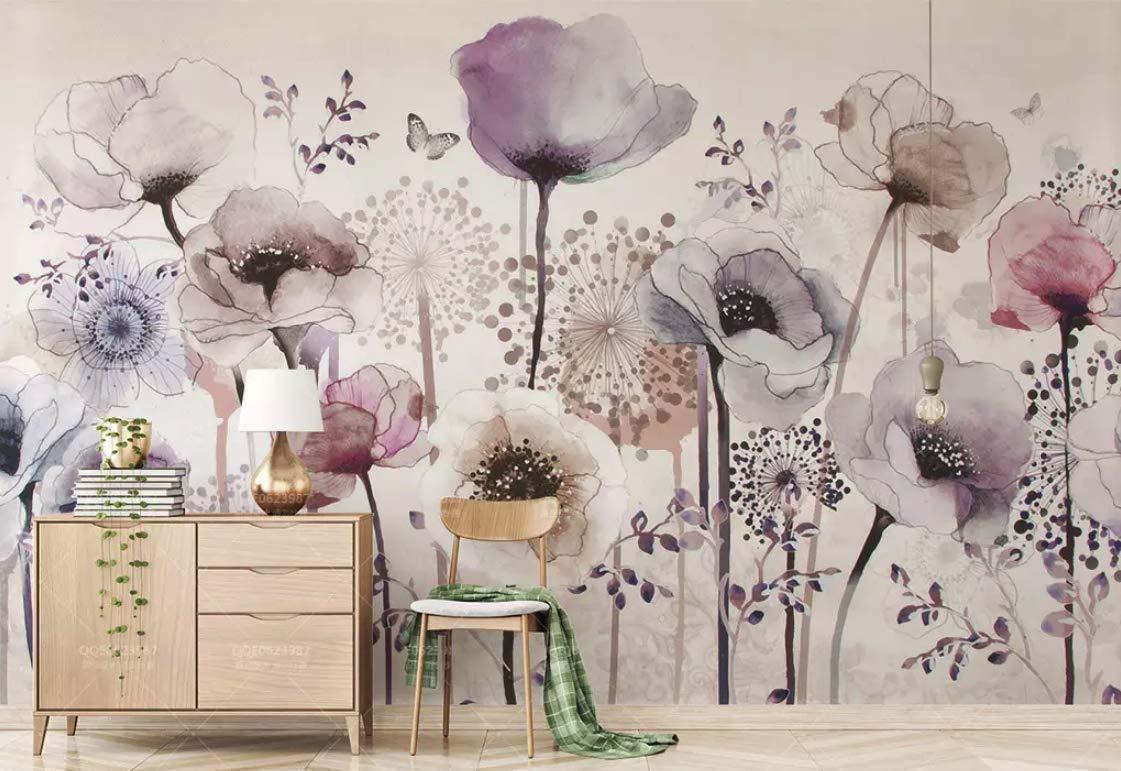 Amazon Com Murwall Floral Wallpaper Dark Poppy Flower Wall Mural Watercolor Paint Wall Art Bohemian Home Decor Cafe Design Living Room Bedroom Entryway Handmade