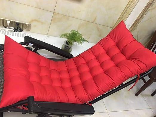 Marbeine - Cojín de Asiento para sillas, sillones o tumbonas de jardín, terraza Gruesa para Exterior, Funda de 125 x 48 x 8 cm, Rojo