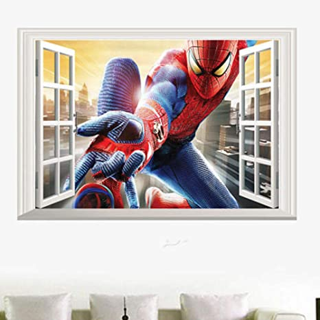 3d Amazing Spiderman Wall Stickers Vinyl Art Decal Boys Kids