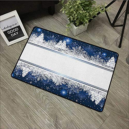 Restaurant mat W35 x L59 INCH Christmas,Frosty Winter Theme Border Abstract Vibrant Trees and Stars Yuletide Artwork, Dark Blue White Natural dye printing to protect your baby's skin Non-slip Door Mat