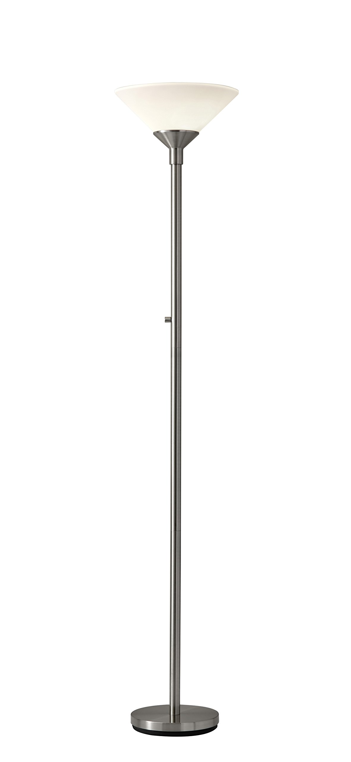 Adesso 7500-22 Aries 73'' Torchiere-Style Incandescent Floor Lamp, Satin Steel, Smart Outlet Compatible