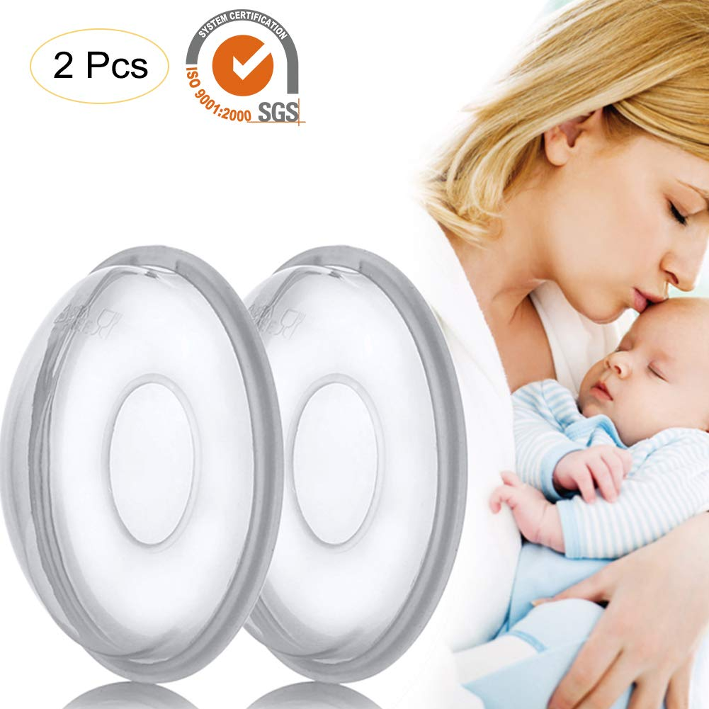 2PCS Reusable Milk Saver Breast Shells Nursing Cups - Protect Sore Nipples for Breastfeeding - Breastmilk Collector Catcher for Nursing Moms - Soft and Flexible Silicone Material Easy to Clean Sue Supply